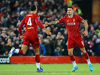 Liverpool's Dejan Lovren celebrates scoring his side's equalising goal to make the score 1-1 <br /> <br /> Photographer Alex Dodd/CameraSport<br /> <br /> UEFA Champions League Group E - Liverpool v Napoli - Wednesday 27th November 2019 - Anfield - Liverpool<br />  <br /> World Copyright © 2018 CameraSport. All rights reserved. 43 Linden Ave. Countesthorpe. Leicester. England. LE8 5PG - Tel: +44 (0) 116 277 4147 - admin@camerasport.com - www.camerasport.com
