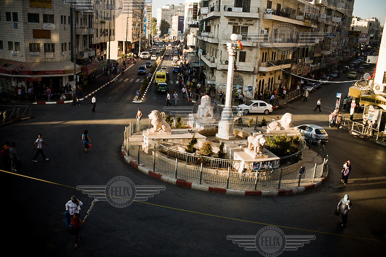 Al-Manarah square in Ramallah, as seen from 'Star and Bucks' coffee house. A popular hang out for Ramallah's young and trendy.