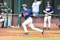Elizabethton Twins Spencer Steer (31) swings at a pitch during a game against the Kingsport Mets at Joe O'Brien Field on July 6, 2019 in Elizabethton, Tennessee. The Twins defeated the Mets 5-3. (Tony Farlow/Four Seam Images)