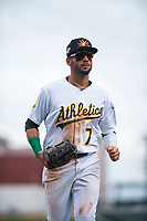 Mesa Solar Sox right fielder Luis Barrera (7), of the Oakland Athletics organization, jogs off the field between innings of an Arizona Fall League game against the Peoria Javelinas at Sloan Park on October 11, 2018 in Mesa, Arizona. Mesa defeated Peoria 10-9. (Zachary Lucy/Four Seam Images)
