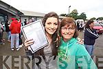Michelle O'Leary with her mother Noreen  from Cahermoneen at Mercy Mounthawk Secondary Tralee on Wednesday for the Junior Cert results..
