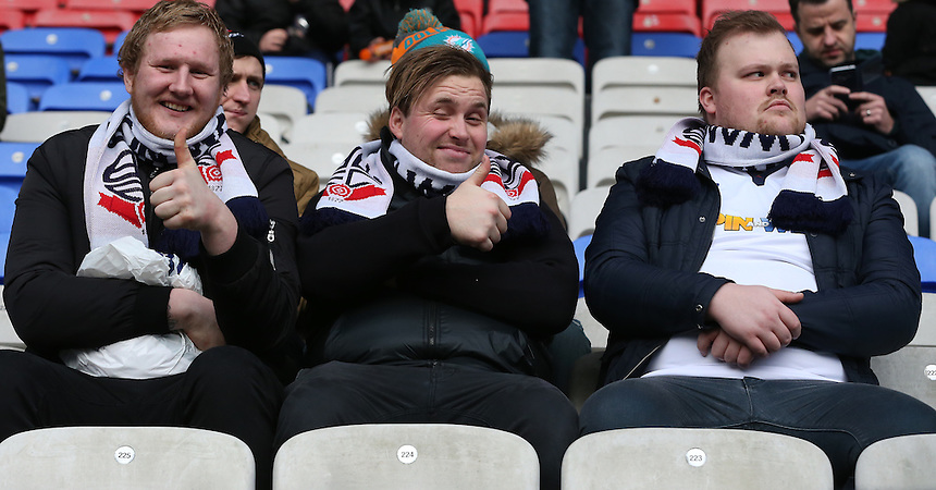 Bolton Wanderers fans<br /> <br /> Photographer Stephen White/CameraSport<br /> <br /> The EFL Sky Bet League One - Bolton Wanderers v Swindon Town - Saturday 14th January 2017 - Macron Stadium - Bolton<br /> <br /> World Copyright &copy; 2017 CameraSport. All rights reserved. 43 Linden Ave. Countesthorpe. Leicester. England. LE8 5PG - Tel: +44 (0) 116 277 4147 - admin@camerasport.com - www.camerasport.com<br /> <br /> Photographer Stephen White/CameraSport<br /> <br /> The EFL Sky Bet League One - Bolton Wanderers v Swindon Town - Saturday 14th January 2017 - Macron Stadium - Bolton<br /> <br /> World Copyright &copy; 2017 CameraSport. All rights reserved. 43 Linden Ave. Countesthorpe. Leicester. England. LE8 5PG - Tel: +44 (0) 116 277 4147 - admin@camerasport.com - www.camerasport.com