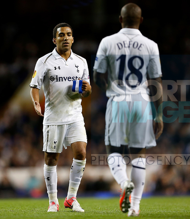 Tottenham's Aaron Lennon passes on the captains armband to Jermain Defoe..Football - Europa League - Tottenham Hotspur v Lazio - White Hart Lane - 20/9/12 ..Mandatory Credit: David Klein/Sportimage..EDITORIAL USE ONLY. No use with unauthorized audio, video, data, fixture lists, club/league logos or ?live? services. Online in-match use limited to 45 images, no video emulation. No use in betting, games or single club/league/player publications. Please contact your account representative for further details....