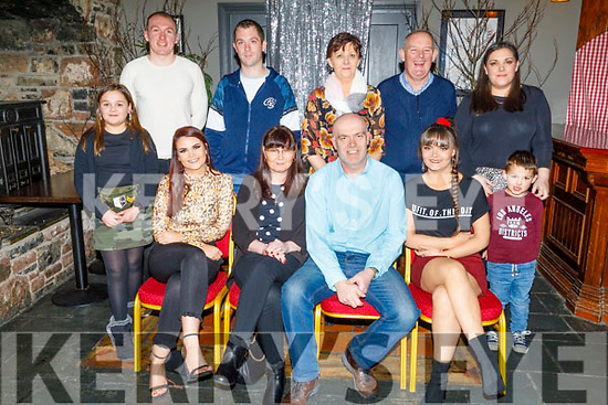 Mark Hobbert from Tralee celebrating his 50th birthday in the Ashe Hotel on Saturday<br /> Seated l to r: Lorraine, Evelyn, Mark and Louise Hobbert.<br /> Back l to r: Lily Hicks, Wes Bergen, Keith Hare, Martina and Mossie Hogan, Sharon and Adam Hicks.