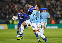Leicester City 's Rachid Ghezzal competing with Manchester City 's Nicolas Otamendi<br /> <br /> Photographer Andrew Kearns/CameraSport<br /> <br /> English League Cup - Carabao Cup Quarter Final - Leicester City v Manchester City - Tuesday 18th December 2018 - King Power Stadium - Leicester<br />  <br /> World Copyright © 2018 CameraSport. All rights reserved. 43 Linden Ave. Countesthorpe. Leicester. England. LE8 5PG - Tel: +44 (0) 116 277 4147 - admin@camerasport.com - www.camerasport.com