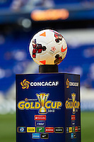 The game ball on display prior to a CONCACAF Gold Cup group B match at Red Bull Arena in Harrison, NJ, on July 8, 2013.