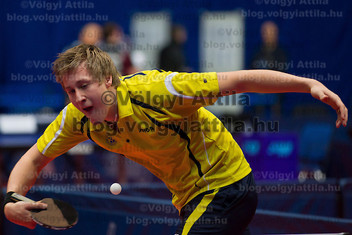 Czech Republic's Pavel Sirucek plays against Hungary's Adam Szudi (not pictured) during the qualifier of the ITTF World Tour Hungarian Open in Budapest, Hungary on January 17, 2012. ATTILA VOLGYI