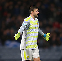 19th November 2019; Hampden Park, Glasgow, Scotland; European Championships 2020 Qualifier, Scotland versus Kazakhstan; David Marshall of Scotland gives instructions to his team mates - Editorial Use