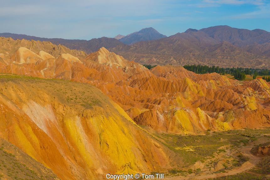 Coloful forms at Zhanhye Danxie Geo Park, China  Gansu Province, Ballands eroded in muliple colors