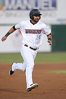 Brian Hernandez #14 of the Inland Empire 66ers runs the bases during a game against the Lancaster JetHawks at San Manuel Stadium on April 23, 2014 in San Bernardino, California. Inland Empire defeated Lancaster, 4-3. (Larry Goren/Four Seam Images)