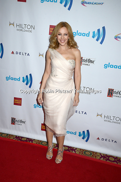 Kylie Minogue  attends the 25th Annual GLAAD Media Awards at the Waldorf Astoria Hotel in New York City, NY on May 3, 2014.