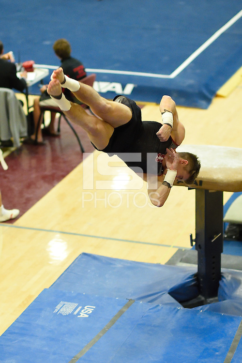 STANFORD, CA - FEBRUARY 28, 2015: Stanford Men's Gymnastics competes against the University of California - Berkeley, the University of Minnesota, the Japanese Collegiate National Team, and the Canadian Collegiate National Team at Burnham Pavilion on the campus of Stanford University.