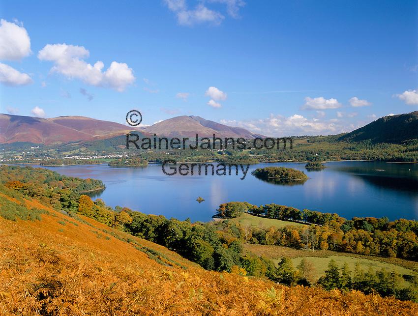 Great Britain, England, Cumbria (Lake District), near Keswick: View over Derwentwater in autumn | Grossbritannien, England, Cumbria (Lake District), bei Keswick: Herbst am See Derwentwater