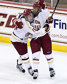 Emily Field (BC - 15), Blake Bolden (BC - 10) - The Boston College Eagles tied the visiting Boston University Terriers 5-5 on Saturday, November 3, 2012, at Kelley Rink in Conte Forum in Chestnut Hill, Massachusetts.