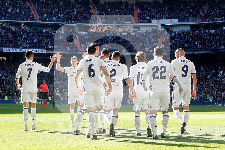 Real Madrid's Cristiano Ronaldo, Raphael Varane, Carlos Henrique Casemiro, Daniel Carvajal, Nacho Fernandez, Luka Modric, Isco Alarcon and Karim Benzema celebrate goal during La Liga match. January 7,2016. (ALTERPHOTOS/Acero)