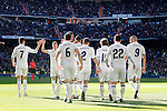Real Madrid's Cristiano Ronaldo, Raphael Varane, Carlos Henrique Casemiro, Daniel Carvajal, Nacho Fernandez, Luka Modric, Isco Alarcon and Karim Benzema celebrate goal during La Liga match. January 7,2016. (ALTERPHOTOS/Acero)