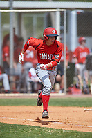 Canada Junior National Team Joshua Jones (25) runs to first base during an exhibition game against the Toronto Blue Jays on March 8, 2020 at Baseball City in St. Petersburg, Florida.  (Mike Janes/Four Seam Images)