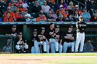 Oregon State Beavers interim head coach Pat Bailey and his teammates watch an at bat during a game against the Gonzaga Bulldogs on February 16, 2019 at Surprise Stadium in Surprise, Arizona. Oregon State defeated Gonzaga 9-3. (Zachary Lucy/Four Seam Images)
