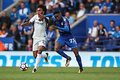 9th September 2017, King Power Stadium, Leicester, England; EPL Premier League Football, Leicester City versus Chelsea; Wilfred Ndidi of Leicester City and Willian of Chelsea get a little tangled competing for the ball