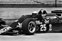 INDIANAPOLIS, IN - MAY 28: Danny Ongais drives his Parnelli VPJ6B/VPJ Cosworth out of the pit lane during practice for the Indy 500 at the Indianapolis Motor Speedway in Indianapolis, Indiana, on May 28, 1978.