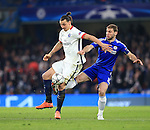 Chelsea's Bratislav Ivanovic tussles with PGS's Zlatan Ibrahimovic <br /> <br /> - UEFA Champions League - Chelsea vs Paris Saint Germain - Stamford Bridge - London - England - 9th March 2016 - Pic David Klein/Sportimage