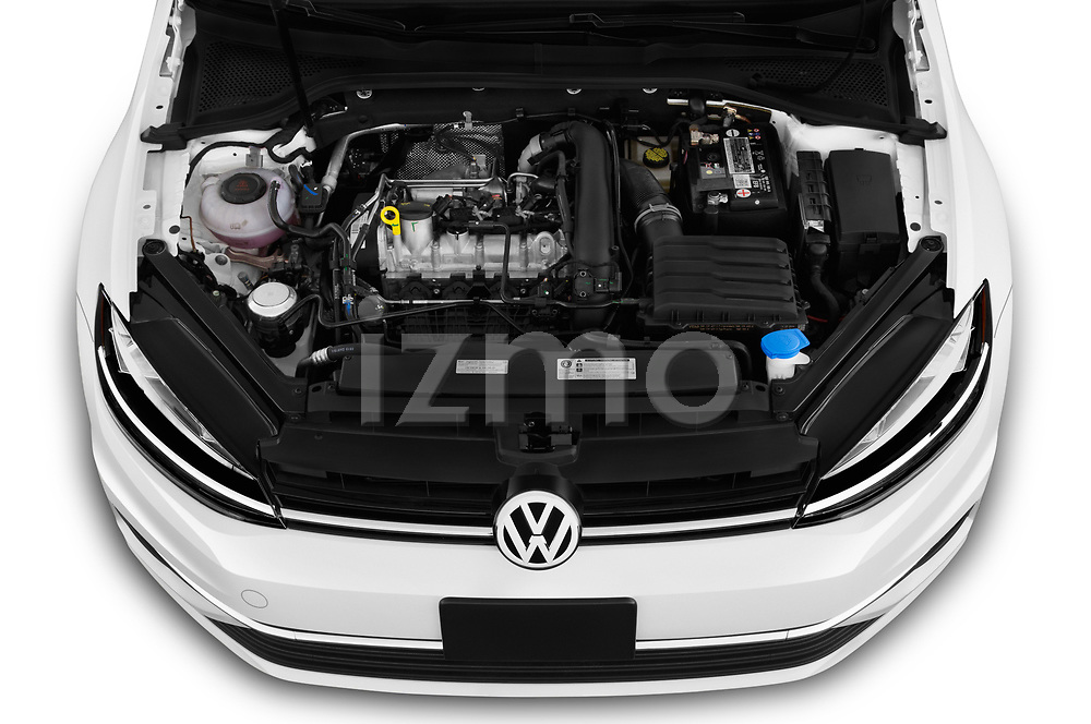 Car stock 2019 Volkswagen Golf SportWagen S 5 Door Wagon engine high angle detail view