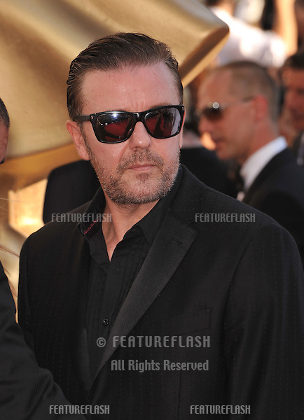 Ricky Gervais at the 64th Primetime Emmy Awards at the Nokia Theatre LA Live..September 23, 2012  Los Angeles, CA.Picture: Paul Smith / Featureflash