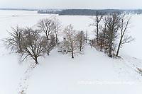 63895-16809 Pleasant Grove Methodist Church in snow-winter-aerial-Marion Co. IL