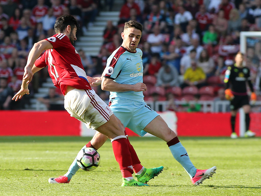 Middlesbrough's Antonio Barragan battles with Burnley's Robbie Brady<br /> <br /> Photographer David Shipman/CameraSport<br /> <br /> The Premier League - Middlesbrough v Burnley - Saturday 8th April 2017 - Riverside Stadium - Middlesbrough<br /> <br /> World Copyright &copy; 2017 CameraSport. All rights reserved. 43 Linden Ave. Countesthorpe. Leicester. England. LE8 5PG - Tel: +44 (0) 116 277 4147 - admin@camerasport.com - www.camerasport.com