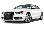 Stock pictures of low aggressive front three quarter view of 2014 Audi A5 Premium Quattro 2 Door Coupe