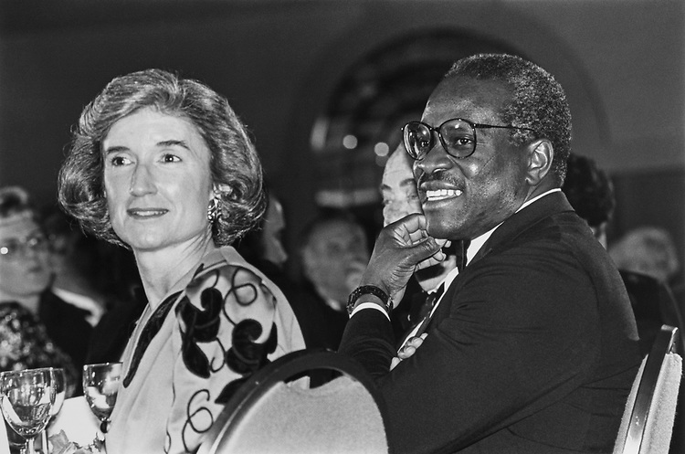Rep. Tillie K. Fowler, R-Fla., and Supreme Court JusticeClarence Thomas at Strom Thurmond's 90th birthday celebration on March 09, 1993. (Photo by Maureen Keating/CQ Roll Call)