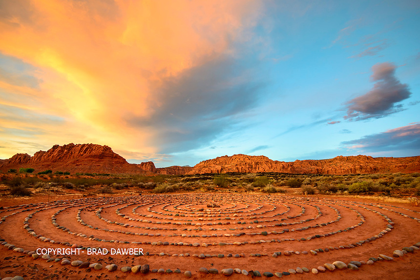 Desert sunset colors over a labyrinth near the entrance to Snow Canyon. Looking north into the canyon, reminds me of a Maxfield Parrish<br /> painting. Lots of red rock energy emanating into this pathway of life!