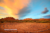 Desert sunset colors over a labyrinth near the entrance to Snow Canyon. Looking north into the canyon, reminds me of a Maxfield Parrish<br />