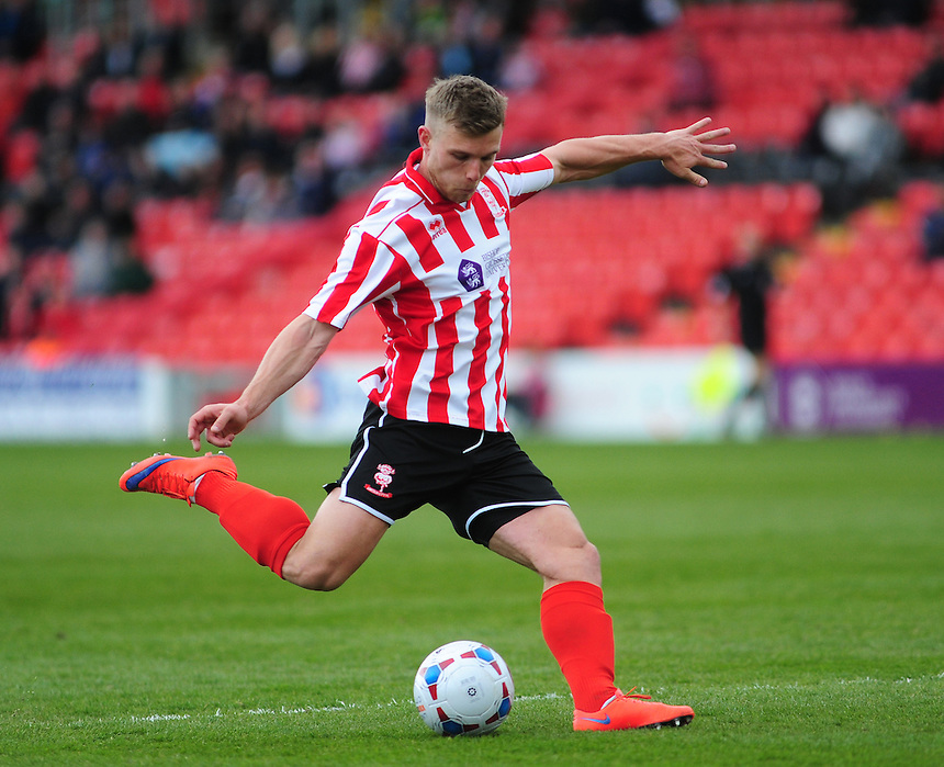 Lincoln City's Jack Muldoon<br /> <br /> Photographer Andrew Vaughan/CameraSport<br /> <br /> Football - Vanarama National League - Lincoln City v Woking - Saturday 23rd April 2016 - Sincil Bank - Lincoln <br /> <br /> &copy; CameraSport - 43 Linden Ave. Countesthorpe. Leicester. England. LE8 5PG - Tel: +44 (0) 116 277 4147 - admin@camerasport.com - www.camerasport.com