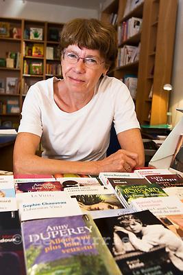 Genève, le 03.06.2009.Mme Anne-Christine Kasser Sauvin, ancienne responsable de la librairie féministe L'Inédite..© Le Courrier / J.-P. Di Silvestro