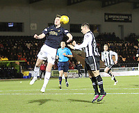 Paul Watson beats Lawrence Shankland in the air in the St Mirren v Falkirk Scottish Professional Football League Ladbrokes Championship match played at the Paisley 2021 Stadium, Paisley on 1.3.16.
