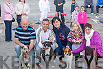 WINNERS: Owners of their terriers who were winners in the Terrier races on Ballyheigue Beach on Friday evening in conjuction with Ballyheigue Summer Festival. L-r: Vincent O'Sullivan ( 1st Fluk), Francis Flaherty ( 2nd Skater), Jenny Dee, Taylor and Mary Dowling (3rd Trixie).
