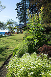A wood-shingled waterfront weekend vacation retreat sits amid towering evergreen trees and wonderful gardens on the edge of Washington State's Vashon Island.
