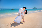 Asian Couple Honeymoon after Wedding on Lanikai Beach, Kailua, Hawaii