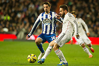 Real Madrid´s Daniel Carvajal and Deportivo de la Coruna's Isaac Cuenca during 2014-15 La Liga match between Real Madrid and Deportivo de la Coruna at Santiago Bernabeu stadium in Madrid, Spain. February 14, 2015. (ALTERPHOTOS/Luis Fernandez) /NORTEphoto.com