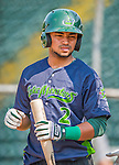 8 July 2015: Vermont Lake Monsters infielder Jesus Lopez awaits his turn in the batting cage prior to a game against the Mahoning Valley Scrappers at Centennial Field in Burlington, Vermont. The Lake Monsters defeated the Scrappers 9-4 to open the home game series of NY Penn League action. Mandatory Credit: Ed Wolfstein Photo *** RAW Image File Available ****