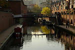 Boats on the canal in Brindleyplace development Birmingham England