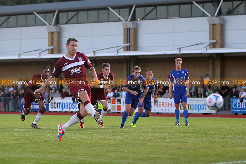 Jeff Goulding scores the first goal for Chelmsford from the penalty spot - Chelmsford City vs Concord Rangers - Blue Square Conference South Football at Melbourne Park Stadium, Chelmsford, Essex - 19/08/13 - MANDATORY CREDIT: Gavin Ellis/TGSPHOTO - Self billing applies where appropriate - 0845 094 6026 - contact@tgsphoto.co.uk - NO UNPAID USE