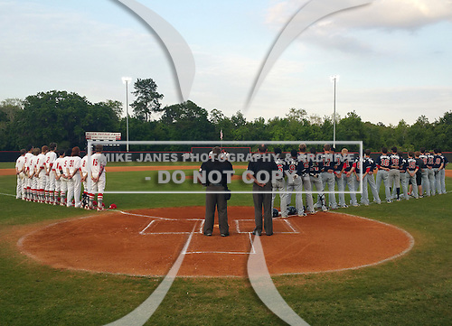 General view of the national anthem before a Lake Mary Rams game against the Lake Brantley Patriots on April 2, 2015 at Allen Tuttle Field in Lake Mary, Florida.  Lake Brantley defeated Lake Mary 10-5.  (Mike Janes Photography)