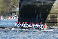 Mortlake/Chiswick, GREATER LONDON. United Kingdom. Belvoir Ruderclub Zuerich [Zurich] (CH) W.MasC.8+, competing in the 2017 Vesta Veterans Head of the River Race, The Championship Course, Putney to Mortlake on the River Thames.<br /> <br /> <br /> Sunday  26/03/2017<br /> <br /> [Mandatory Credit; Peter SPURRIER/Intersport Images]