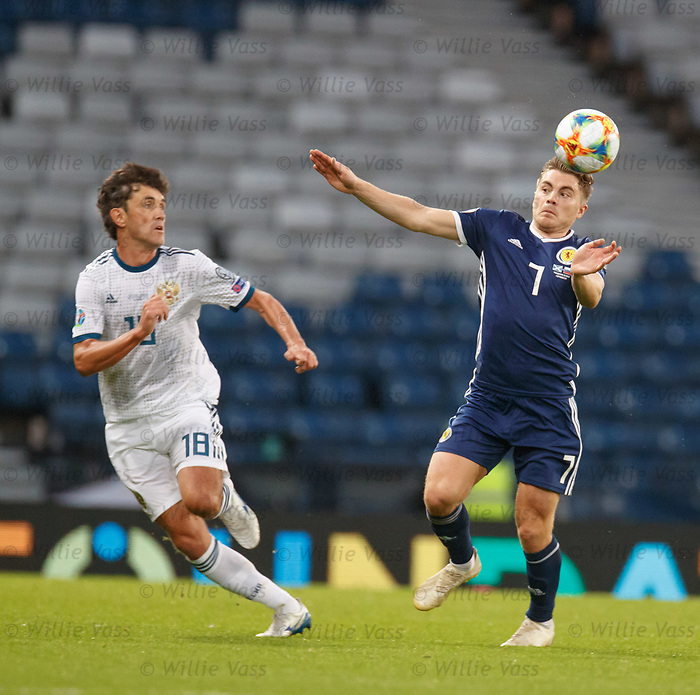 06.09.2019 Scotland v Russia, European Championship 2020 qualifying round, Hampden Park:<br /> James Forrest and Yuri Zhirkov