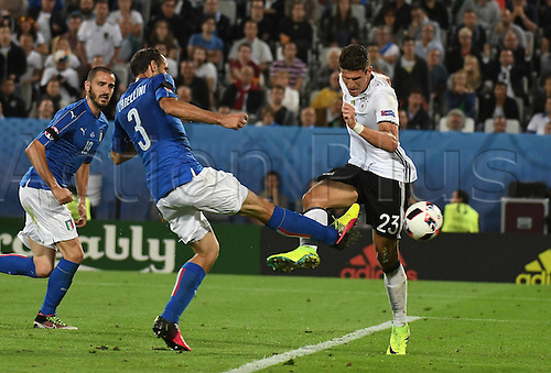 02.07.2016. Bordeaux, France. 2016 European football championships. Quarterfinals match. Germany versus Italy.  Giorgio Chiellini (Italy), Thomas Mueller (Ger)
