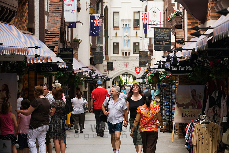 Visitors browse the shops of London Court in the central shopping district.  Perth, Western Australia, AUSTRALIA.