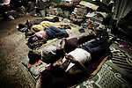 Christian refugees sleep at YMCA relief comittee in Orissa's capital Bhubaneswar. Nov. 04, 2008..