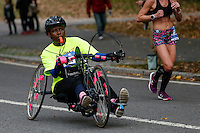 A competitor attends the annual TCS New York City Marathon in Central Park New York 01.11.2015. Mary Keitany wins second consecutive NYC Marathon, Stanley Biwott is men's winner. Ken Betancur/VIEWpress.